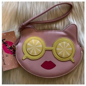 BETSEY JOHNSON Pink Cat Wristlet Clutch Bag NWT
